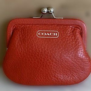 Coach Red Leather Frame Kiss Lock Coin Purse